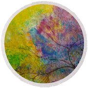 Round Beach Towel featuring the painting I See Birds by Claire Bull