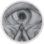 Round Beach Towel featuring the drawing I Shadow by Charles Bates
