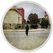 Round Beach Towel featuring the photograph I Walk Alone by Brian Wallace