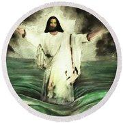 I Am Will Calm Your Sea Round Beach Towel
