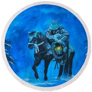 Round Beach Towel featuring the painting I Will Carry You by Leslie Allen