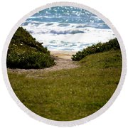 I Will Follow - Ocean Photography Round Beach Towel