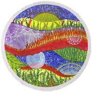 Round Beach Towel featuring the painting I Will Have You And You Will Have Me #2 by Kym Nicolas