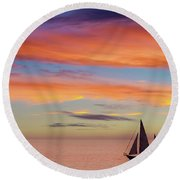 I Will Sail Away, And Take Your Heart With Me Round Beach Towel