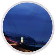 Round Beach Towel featuring the photograph I84 by Cat Connor