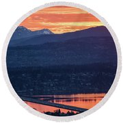 I90 Eastside Sunrise Fire Round Beach Towel by Mike Reid