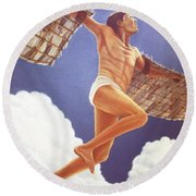 Icarus Ascending Round Beach Towel by Laurie Stewart