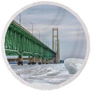 Round Beach Towel featuring the photograph Ice And Mackinac Bridge  by John McGraw