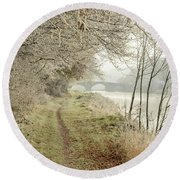 Ice And Mist Round Beach Towel