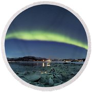 Ice And Northern Lights Round Beach Towel