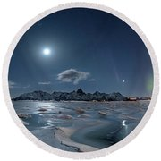 Ice And Northern Lights II Round Beach Towel