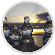 Ice And Water 3 Round Beach Towel