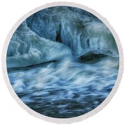 Ice And Water 4 Round Beach Towel