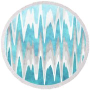 Round Beach Towel featuring the mixed media Ice Blue Abstract by Christina Rollo