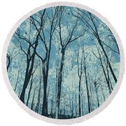 Ice Blue Round Beach Towel