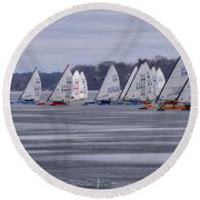 Ice Boat Racing - Madison - Wisconsin Round Beach Towel