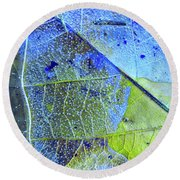 Ice Bubbles And Leaf Lines Round Beach Towel by Todd Breitling