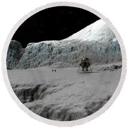 Ice Cliffs Of Europa Round Beach Towel