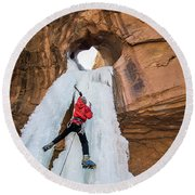 Ice Climber Round Beach Towel