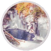 Ice Cold View Of Sages Ravine. Northwest Connecticut Round Beach Towel