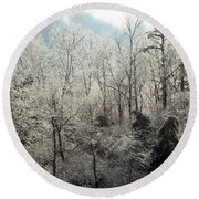 Ice Covered Trees Round Beach Towel