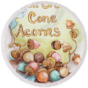 Ice Cream Corn Acorns Round Beach Towel