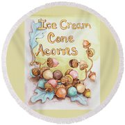 Ice Cream Corn Acorns Round Beach Towel