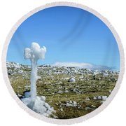 Round Beach Towel featuring the photograph Ice Cross by Alana Ranney
