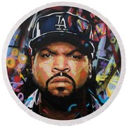 Round Beach Towel featuring the painting Ice Cube by Richard Day