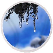 Ice Drops Round Beach Towel
