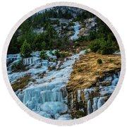 Ice Fall Round Beach Towel