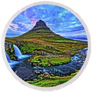 Round Beach Towel featuring the photograph Ice Falls by Scott Mahon