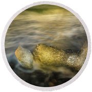 Ice In Surf At Dusk. Round Beach Towel