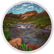 Round Beach Towel featuring the photograph Ice Lake Nights by Darren White