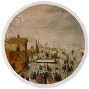 Ice Landscape Round Beach Towel