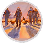 Ice Men Come Home Round Beach Towel