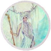 Round Beach Towel featuring the digital art Ice Moon Princess by Jutta Maria Pusl