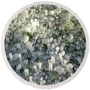 Ice On The Lawn Round Beach Towel