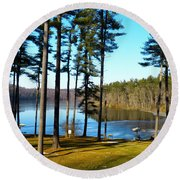 Ice On The Water Round Beach Towel by Donald C Morgan