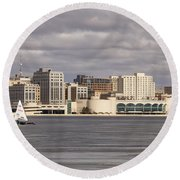Ice Sailing - Lake Monona - Madison - Wisconsin Round Beach Towel