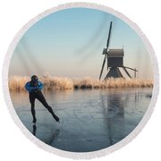 Ice Skating Past Frosted Reeds And A Windmill Round Beach Towel