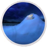 Round Beach Towel featuring the photograph Ice Volcano by John Poon