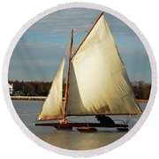 Ice Yachting Round Beach Towel by James Kirkikis
