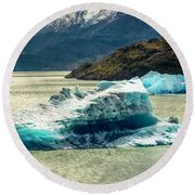 Round Beach Towel featuring the photograph Iceberg by Andrew Matwijec