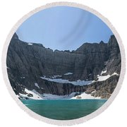 Iceberg Lake Panoramic - Glacier National Park Round Beach Towel