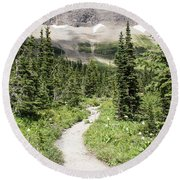 Iceberg Lake Trail Forest Round Beach Towel