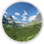 Iceberg Lake Trail Mountain Valley - Glacier National Park Round Beach Towel