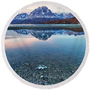 Round Beach Towel featuring the photograph Icebergs And Mountains Of Torres Del Paine National Park by Phyllis Peterson