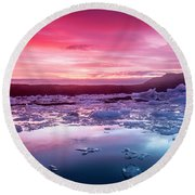 Icebergs In Jokulsarlon Glacial Lagoon Round Beach Towel by Joe Belanger