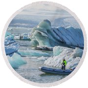 Icebergs On Jokulsarlon Lagoon In Iceland Round Beach Towel